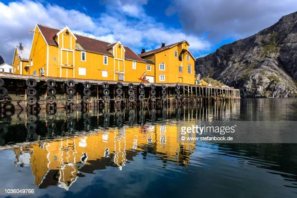nusfjord lofoten ii - spiegelung stock pictures, royalty-free photos & images