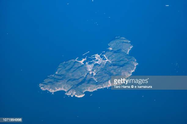 Nushima Island in Minamiawaji city in Hyogo prefecture in Japan daytime aerial view from airplane