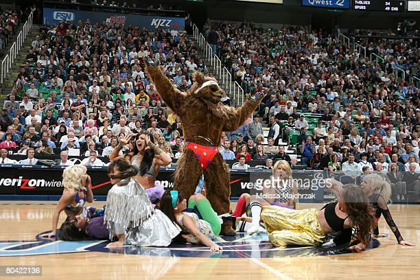 NuSkin Jazz Dancers strip Jazz Bear during a timeout in the game against the Los Angeles Clippers at EnergySolutions Arena on March 28 2008 in Salt...