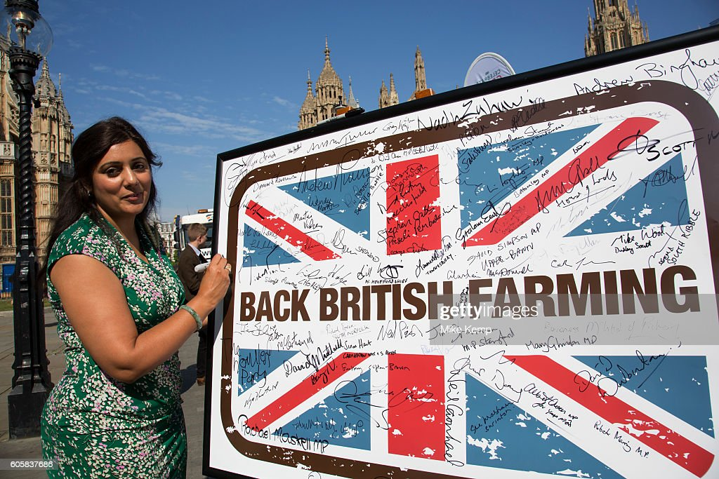 Nusrat Ghani MP at the National Farmers Union (NFU) took machinery, produce, farmers and staff to Westminster to encourage Members of Parliament to back British farming, post Brexit on 14th September 2016 in London, United Kingdom. MPs were encouraged to sign the NFUs pledge and wear a British wheat and wool pin badge to show their support.