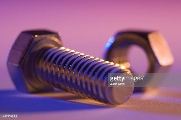 'Nut and bolt, close up'