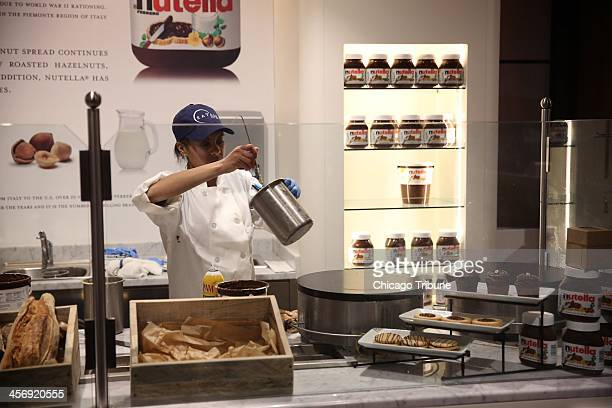A Nutella bar is featured in Eataly Chicago an Italian market with many eating options as well in 63000 sqare feet