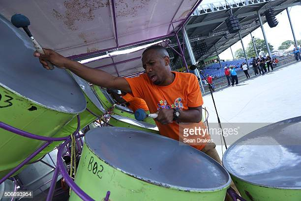 NuTones Steel Orchestra performs at the semifinals of Panorama in the Queen's Park Savannah during Carnival in Port of Spain Trinidad on Sunday...