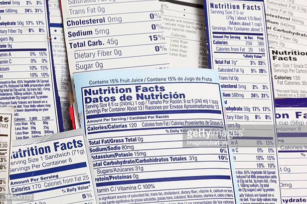 nutrional label an important document for diet. - sodium stock photos and pictures