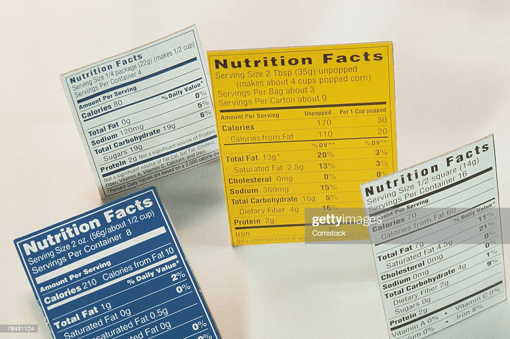 Nutrition fact labels : Stock Photo