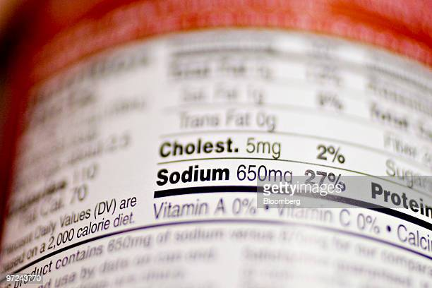 A nutrition facts label displays sodium content in a supermarket in New York US on Monday March 1 2010 The US food industry may face federal sodium...