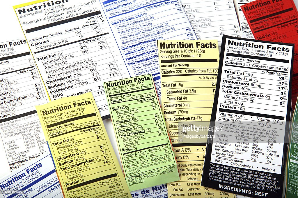 Nutrition Label giving information on good food choices. : Stock Photo