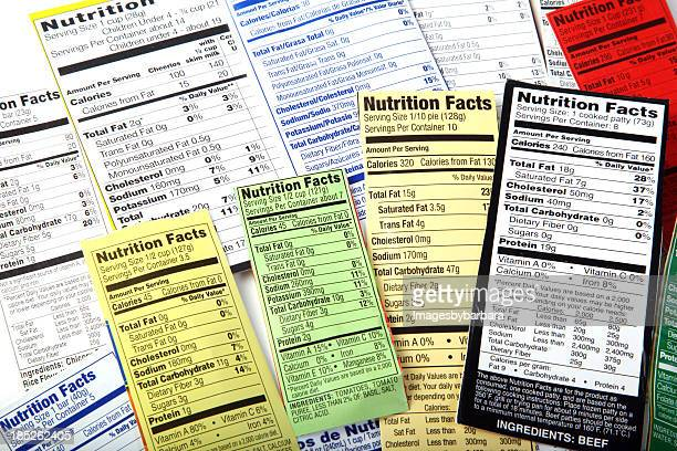 nutrition label giving information on good food choices. - ingredient stock pictures, royalty-free photos & images