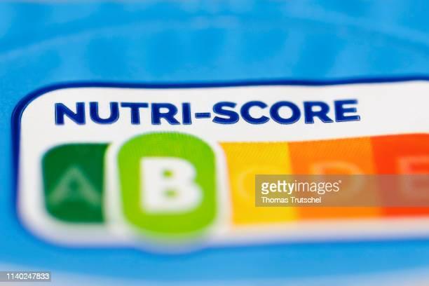 Nutrition label Nutriscore is seen on a food packaging on April 30 2019 in Berlin Germany
