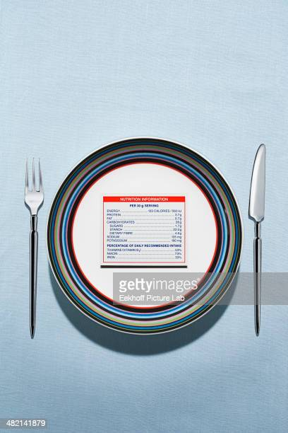 nutrition label on plate in table setting - anorexia nervosa stockfoto's en -beelden