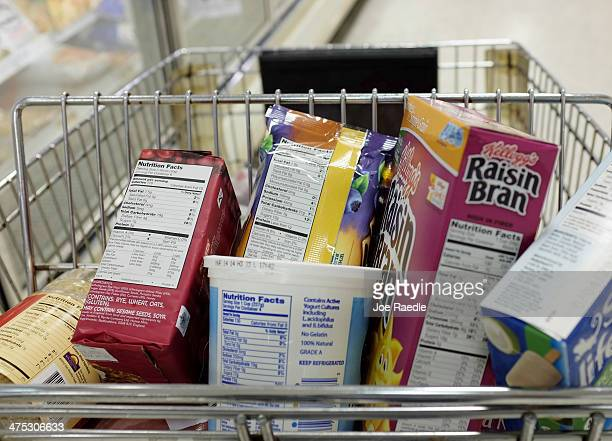 Nutrition labels are seen on food packaging on February 27 2014 in Miami Florida The Food and Drug Administration is proposing several changes to the...