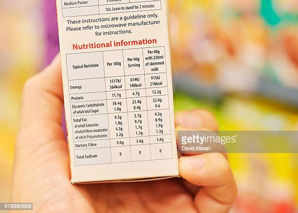 Nutritional information on a cereal box, in store
