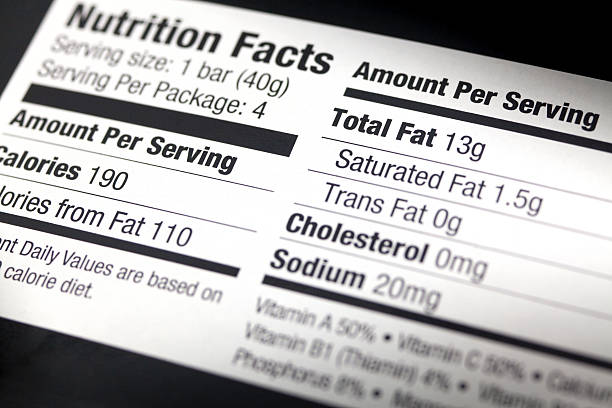 a nutritional label, close-up - ingredient label stock pictures, royalty-free photos & images