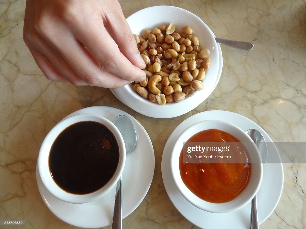 Nuts, Cashews And Bowls With Sauce : Foto stock
