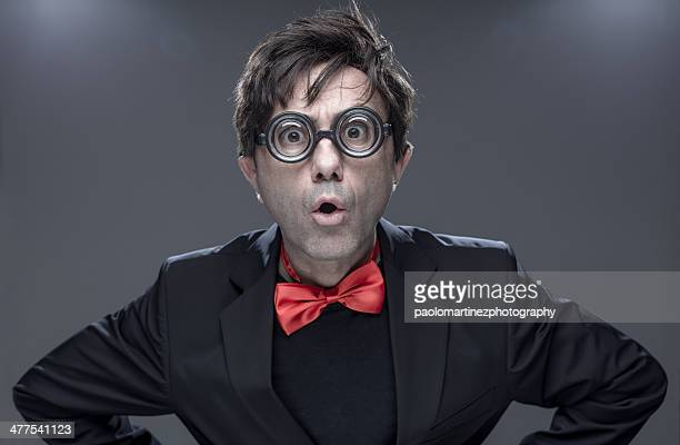 nutty professor with funny eyeglasses - mad scientist stock photos and pictures
