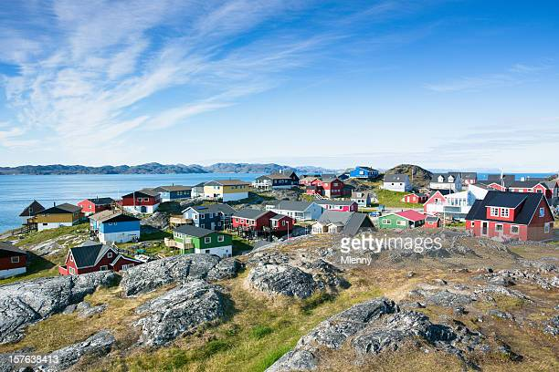nuuk (godthab), capital of greenland in summer - inuit stock pictures, royalty-free photos & images
