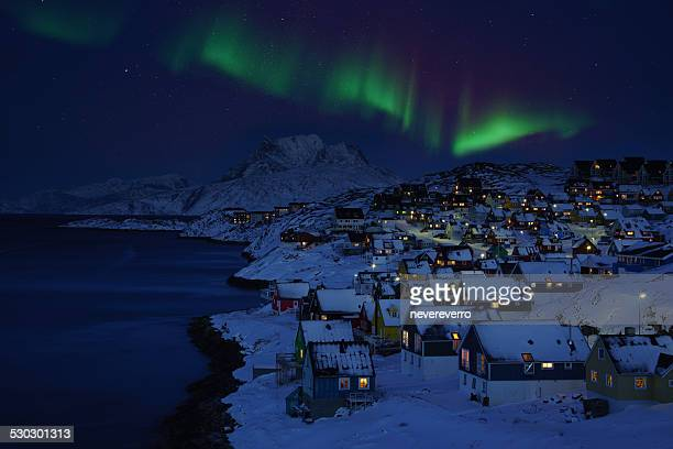 nuuk old town northern light - inuit stock pictures, royalty-free photos & images