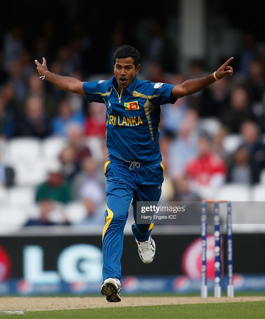 Nuwak Kulasekara of Sri Lanka celebrates dismissing Jos Buttler of England (not pictured) during the ICC Champions Trophy group A match between England and Sri Lanka at The Kia Oval on June 13, 2013 in London, England.