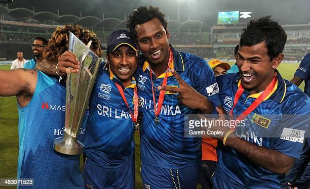 Nuwan Kulasekara Lasith Malinga Mahela Jayawardena and Angelo Mathews of Sri Lanka celebrate after winning the ICC World Twenty20 Bangladesh 2014...