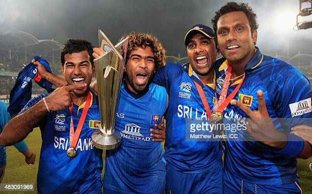 Nuwan Kulasekara Lasith Malinga Mahela Jayawardena and Angelo Mathews of Sri Lanka celebrate winning the World Twenty20 Final against India during...