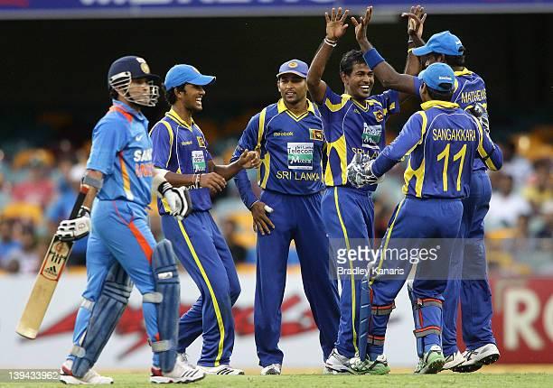 Nuwan Kulasekara of Sri Lanka celebrates after bowling out Sachin Tendulkar of India during game eight of the One Day International Series between...
