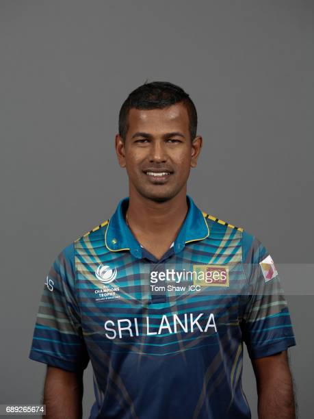 Nuwan Kulasekara of Sri Lanka poses for a picture during the Sri Lanka Portrait Session for the ICC Champions Trophy at Grand Hyatt on May 27 2017 in...