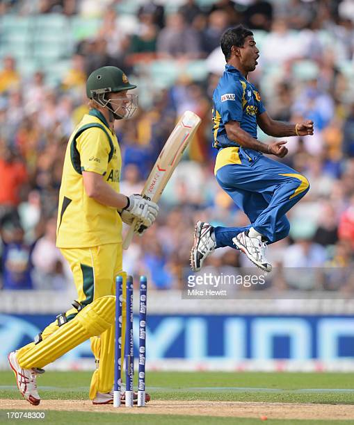 Nuwan Kulasekera of Sri Lamka celebrates wildly after bowling Shane Watson of Australia during the ICC Champions Trophy Group A fixture between Sri...
