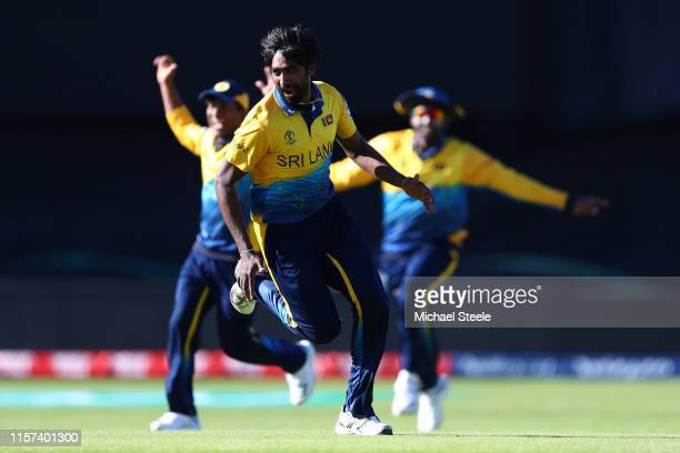 Nuwan Pradeep of Sri Lanka celebrates taking the wicket of Mark Wood of England during the Group Stage match of the ICC Cricket World Cup 2019...