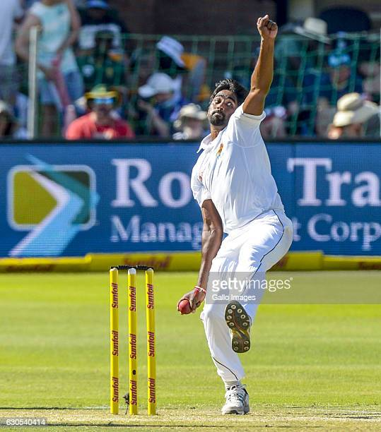Nuwan Pradeep of Sri Lanka during day 1 of the 1st Test match between South Africa and Sri Lanka at St George's Park on December 26 2016 in Port...