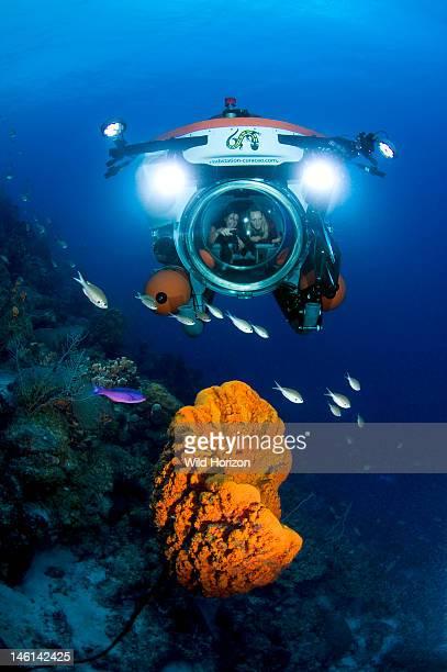 Nuytco Curacao minisubmarine over huge elephant ear sponge Curacao Netherlands Antilles
