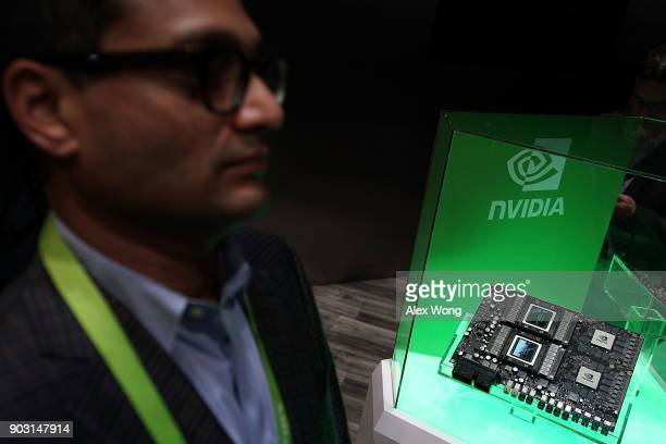 Nvidia Drive Pegasus the world's first AI supercomputer for level 5 robotaxis is on display during CES 2018 at the Las Vegas Convention Center on...