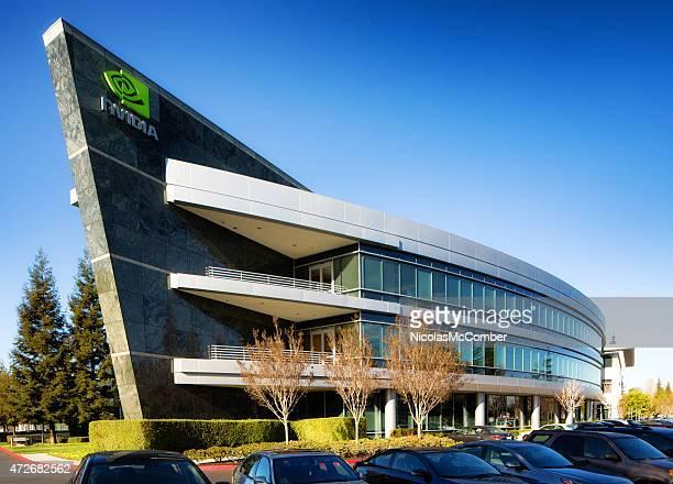 nvidia headquarters building em sunnyvale califórnia - nvidia corporation - fotografias e filmes do acervo