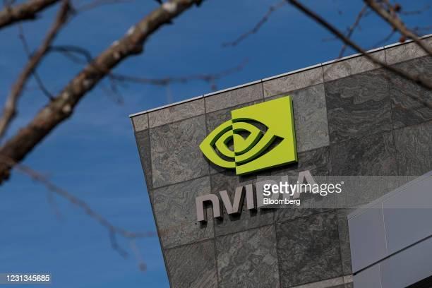 Nvidia headquarters in Santa Clara, California, U.S., on Tuesday, Feb. 23, 2021. Nvidia Corp. Is expected to release earnings figures on February 24....