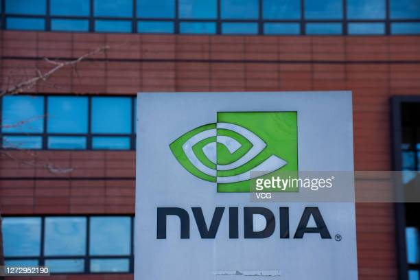 Nvidia logo is seen on the company's building at an industry park on February 7, 2019 in Tianjin, China.