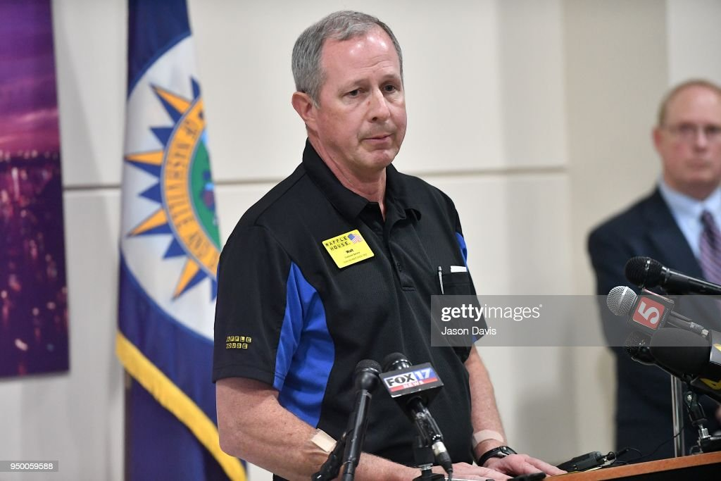 NWaffle House President and CEO, Walt Ehmer speaks at a press conference discussing the shooting at a Waffle House where a gunman opened fire killing four and injuring two on April 22, 2018 in Nashville, Tennessee. Travis Reinking, 29, of Morton, IL, is person of interest in the shooting and is suspected to have left the scene naked.