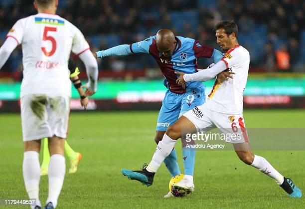 Nwakaeme of Trabzonspor in action against Celso Borges of Goztepe during the Turkish Super Lig soccer match between Trabzonspor and Goztepe in...