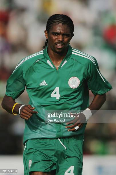 Nwankwo Kanu of Nigeria in action during the 2006 World Cup Qualifying match between Nigeria and Angola at the Sany Abacha Stadium on June 18 in Kano...