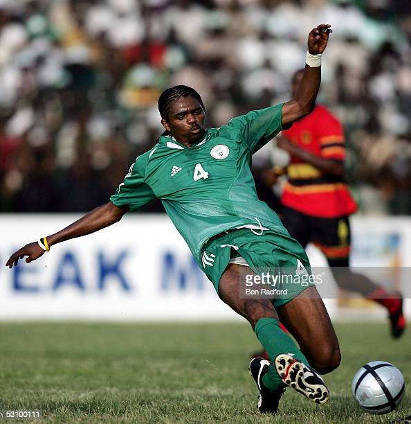 Nwankwo Kanu of Nigeria plays during the 2006 World Cup Qualifying match between Nigeria and Angola at the Sany Abacha Stadium on June 18 2005 in...