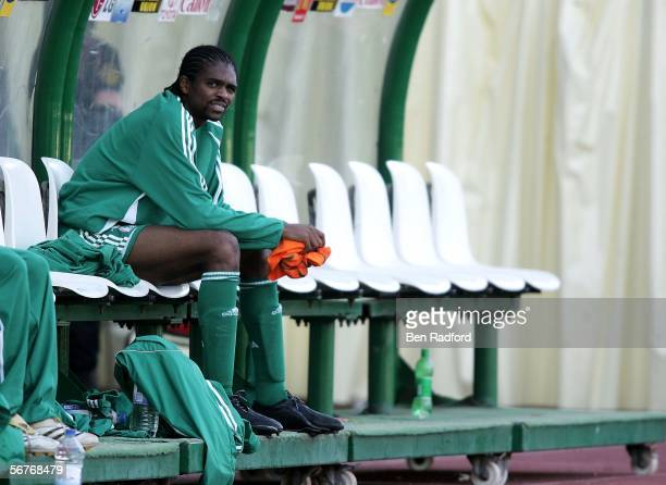 Nwankwo Kanu of Nigeria site looks on after defeat in The African Cup of Nations, Semi Final match between Ivory Coast and Nigeria at The Haras El...