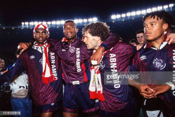 Nwankwo KANU Winston BOGARDE Danny BLIND and Edgar DAVIDS of Ajax celebrate the victory during the Champions League Final match between Ajax...