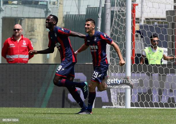 Nwankwo Simy of Crotone celebrates after scoring his team's second goal with his teammate Marcello Trotta during the serie A match between FC Crotone...
