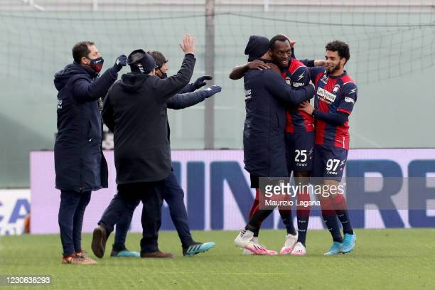 Nwankwo Simy of Crotone celebrates his team's second goal during the Serie A match between FC Crotone and Benevento Calcio at Stadio Comunale Ezio...