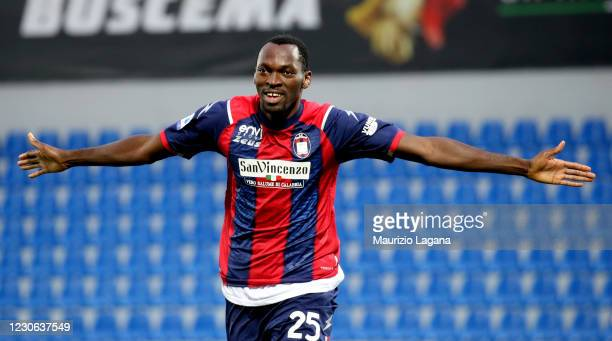Nwankwo Simy of Crotone celebrates his team's third goal during the Serie A match between FC Crotone and Benevento Calcio at Stadio Comunale Ezio...