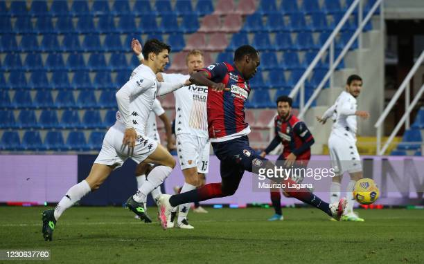 Nwankwo Simy of Crotone scores his team's third goal during the Serie A match between FC Crotone and Benevento Calcio at Stadio Comunale Ezio Scida...