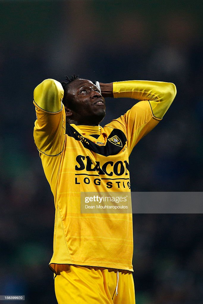 Nwofor Uche of Venlo reacts after a missed chance in the final minutes during the Eredivisie match between FC Groningen and VVV Venlo at the Euroborg Stadium on December 15, 2012 in Groningen, Netherlands.