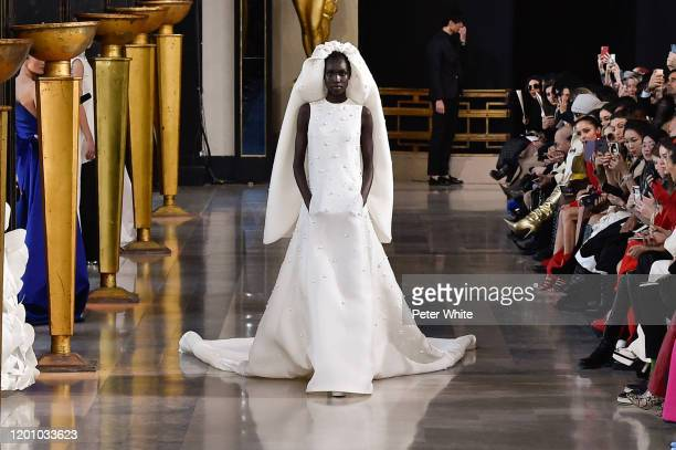 Nya Gatbel walks the runway during the Stephane Rolland Haute Couture Spring/Summer 2020 show as part of Paris Fashion Week on January 21, 2020 in...