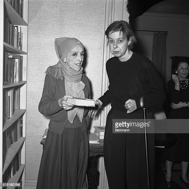 Famed Danish author Isak Dinesen and author Carson McCullers in McCullers Home The occasion was a luncheon given by Miss McCullers in honor of the...