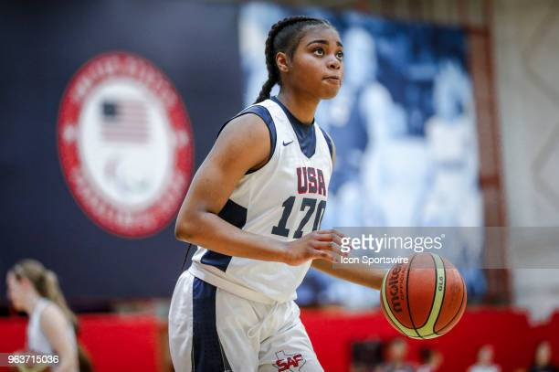 Nyah Green of Allen Texas participates in tryouts for the 2018 USA Basketball Women's U17 World Cup Team at the United States Olympic Training Center...