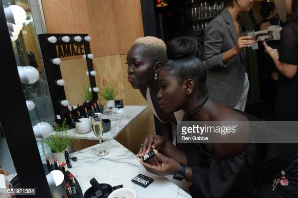 Nyakim Gatwech and guest attend L'Oreal Paris And Isabel Marant Celebrate The Launch Of The Most Wanted Makeup Collection at Le Turtle on October 11,...