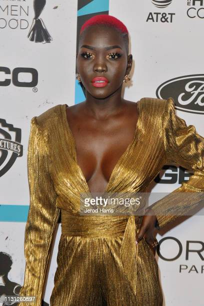 Nyakim Gatwech arrives at the 2019 Essence Black Women In Hollywood Awards at the Beverly Wilshire Four Seasons Hotel on February 21 2019 in Beverly...